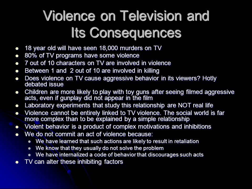Violence on Television and Its Consequences