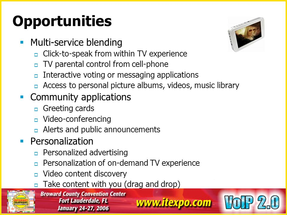 Opportunities Multi-service blending Community applications