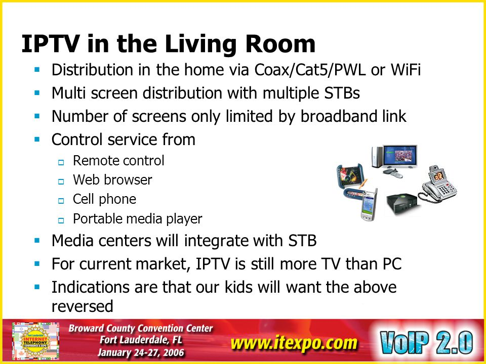 IPTV in the Living Room Distribution in the home via Coax/Cat5/PWL or WiFi. Multi screen distribution with multiple STBs.
