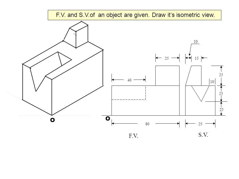 F.V. and S.V.of an object are given. Draw it's isometric view.