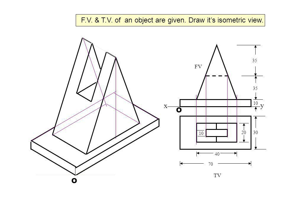 F.V. & T.V. of an object are given. Draw it's isometric view.