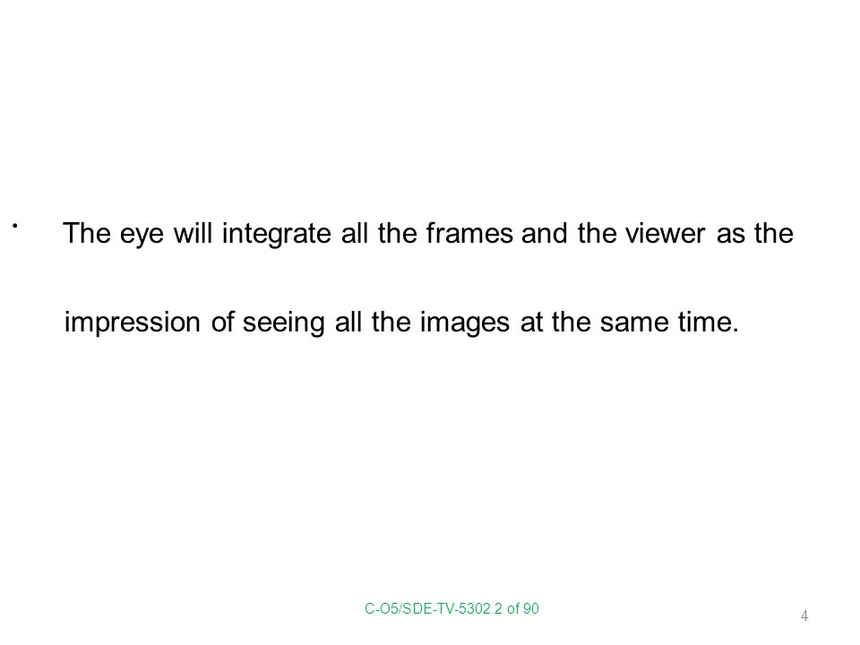 The eye will integrate all the frames and the viewer as the