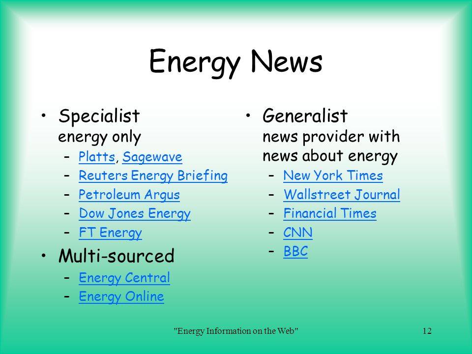 Energy Information on the Web