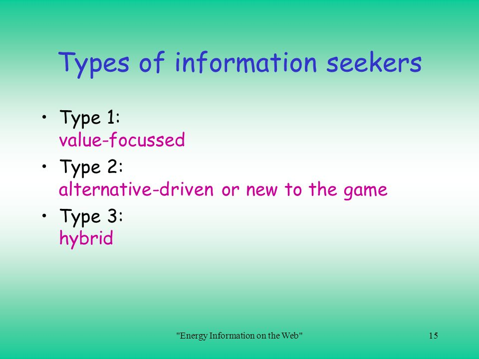 Types of information seekers