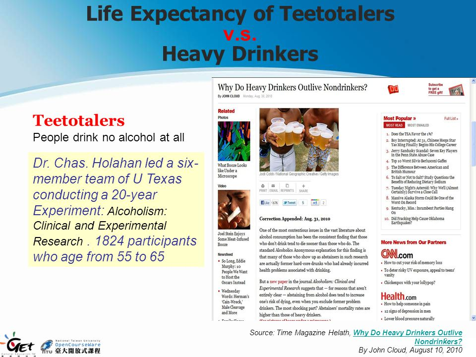 Life Expectancy of Teetotalers v.s. Heavy Drinkers