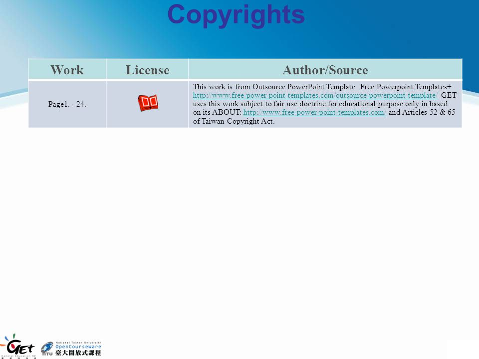Copyrights Work License Author/Source Page1. - 24.