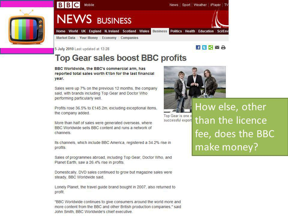 How else, other than the licence fee, does the BBC make money