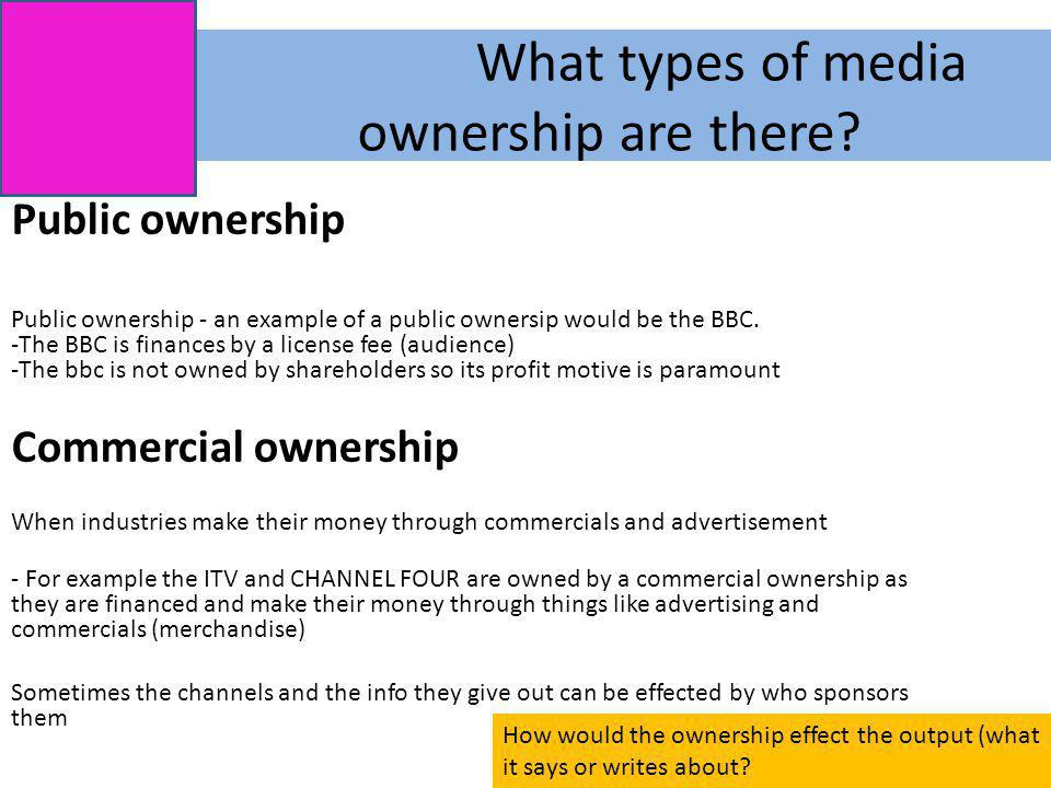 What types of media ownership are there