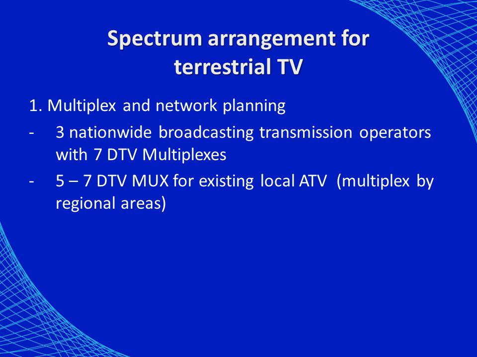 Spectrum arrangement for terrestrial TV