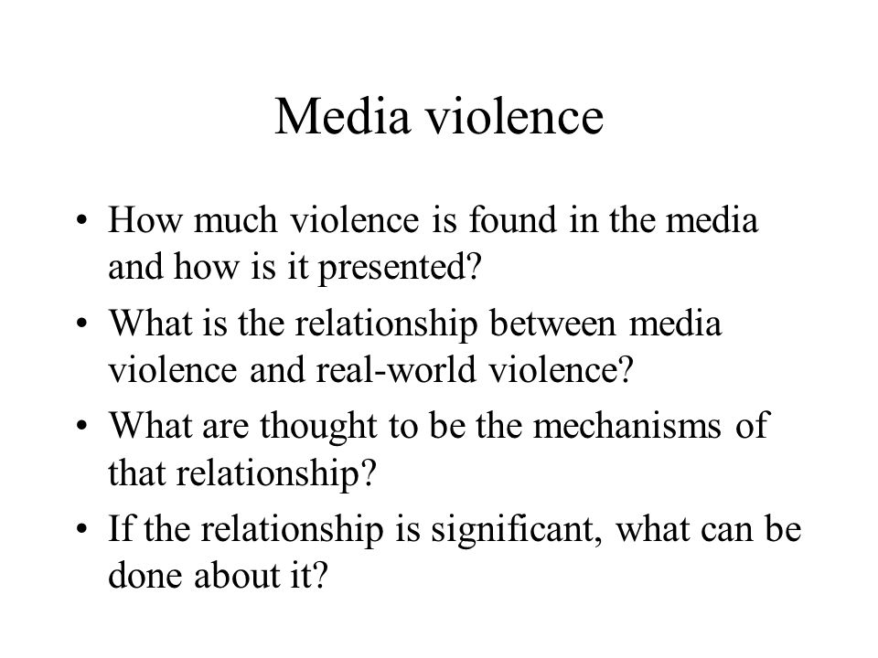Media violence How much violence is found in the media and how is it presented