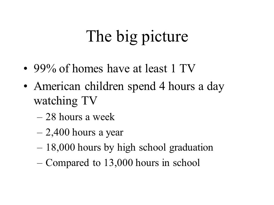 The big picture 99% of homes have at least 1 TV