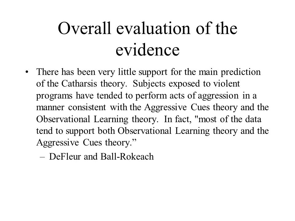 Overall evaluation of the evidence