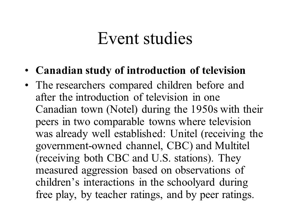 an introduction to the analysis of television There are limited data from long-term prospective studies on the association between television (tv) viewing and obesity we investigated this association.