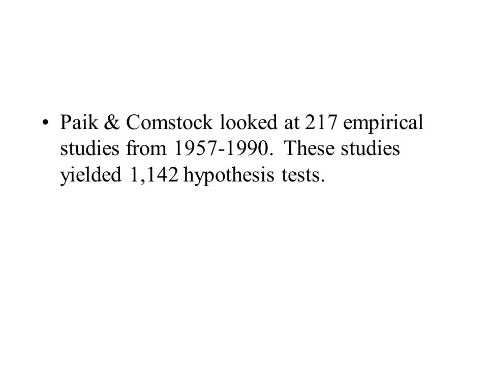 Paik & Comstock looked at 217 empirical studies from 1957-1990