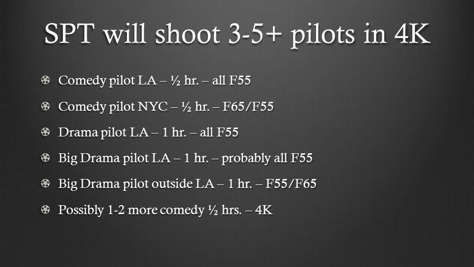 SPT will shoot 3-5+ pilots in 4K