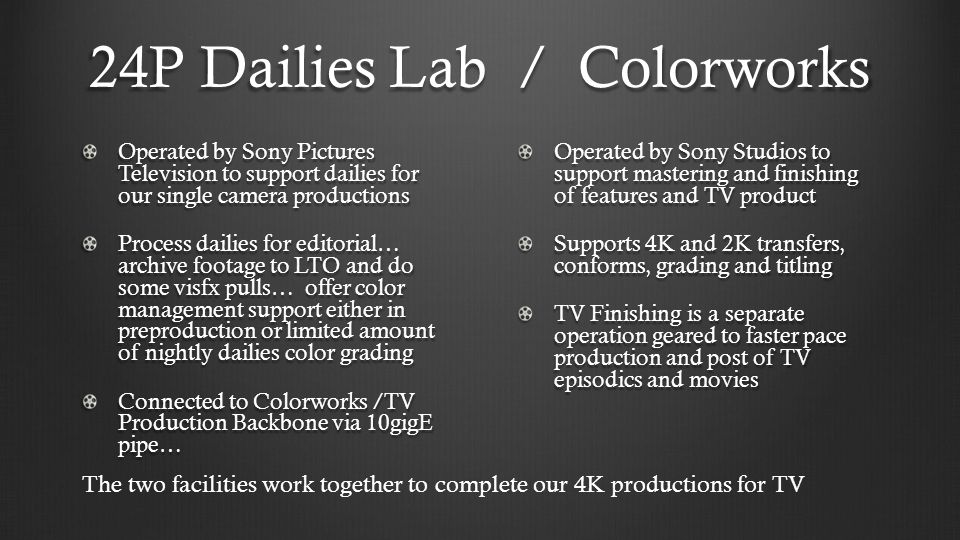24P Dailies Lab / Colorworks