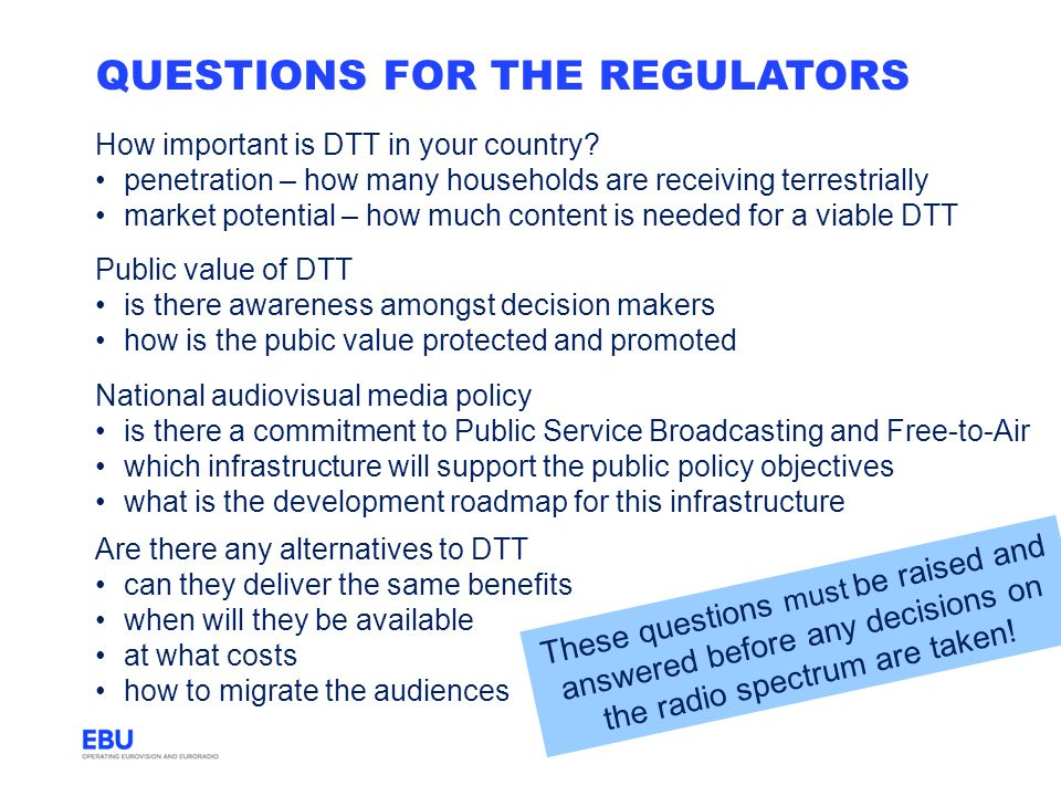Questions for the regulators