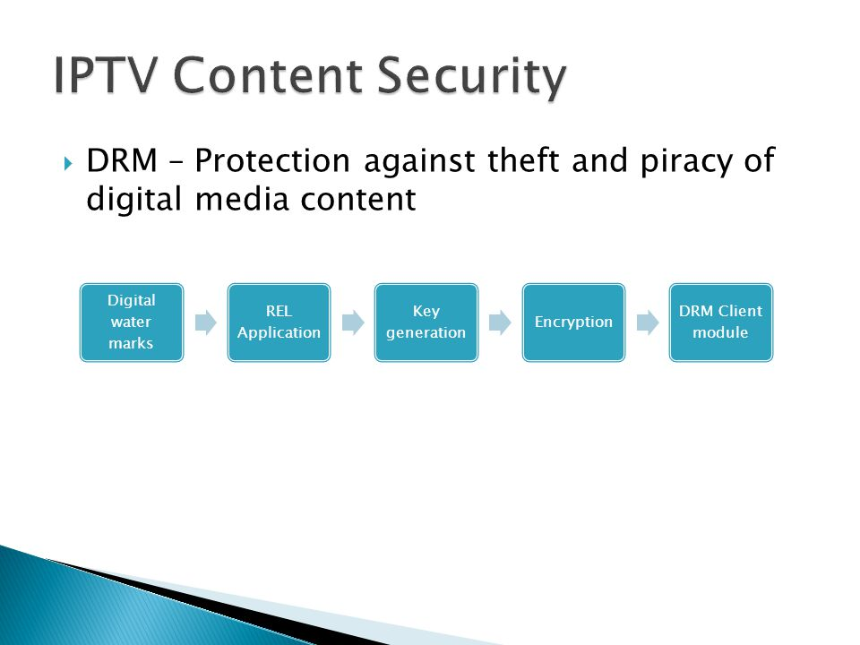 IPTV Content Security Digital water marks. REL Application. Key generation. Encryption. DRM Client module.