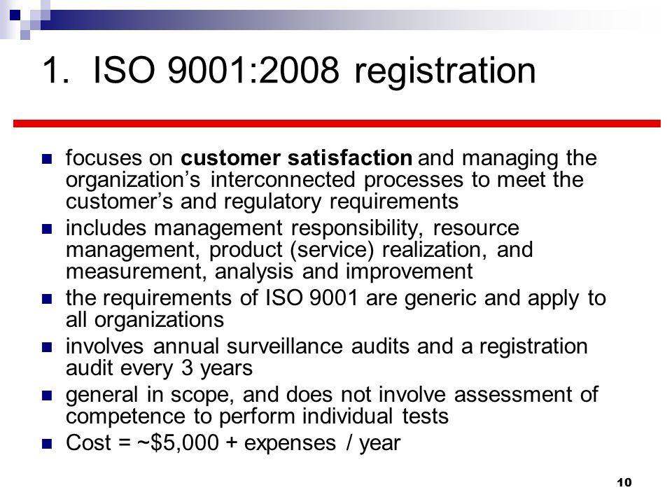 1. ISO 9001:2008 registration