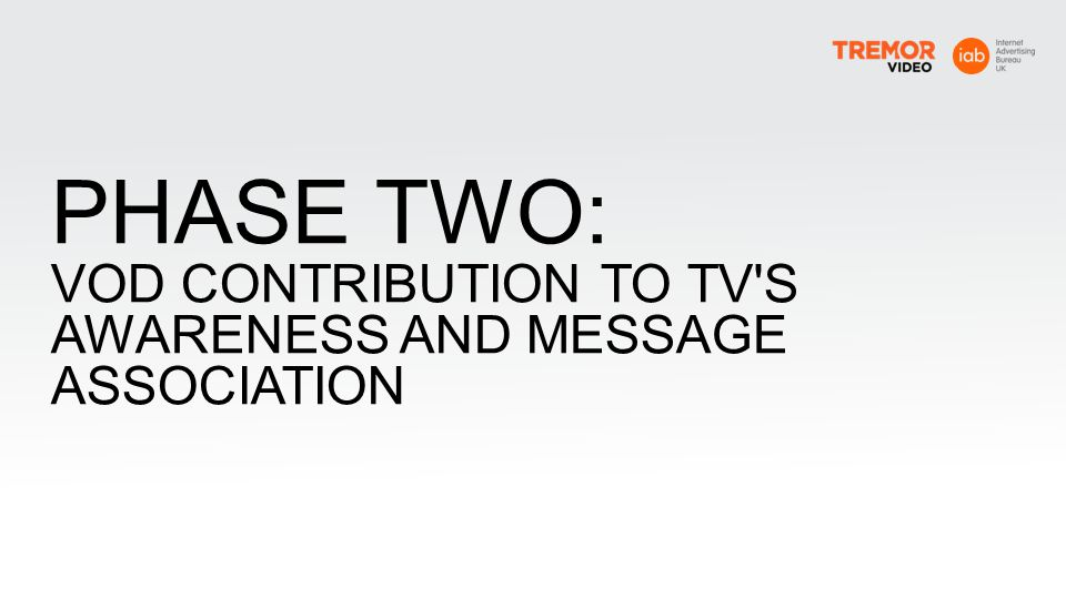 PHASE TWO: VOD CONTRIBUTION TO TV S AWARENESS AND MESSAGE ASSOCIATION