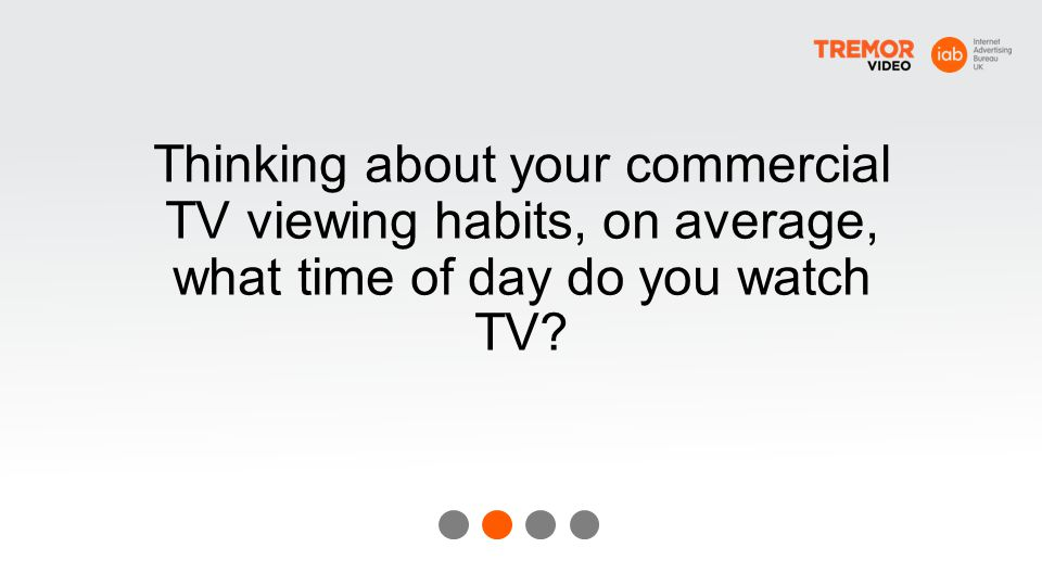 Thinking about your commercial TV viewing habits, on average, what time of day do you watch TV