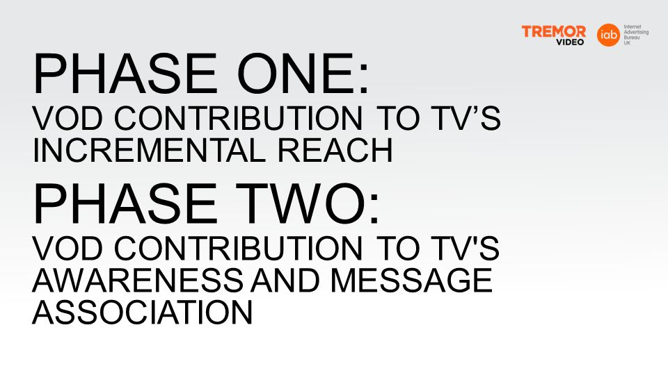 PHASE ONE: PHASE TWO: VOD CONTRIBUTION TO TV'S INCREMENTAL REACH