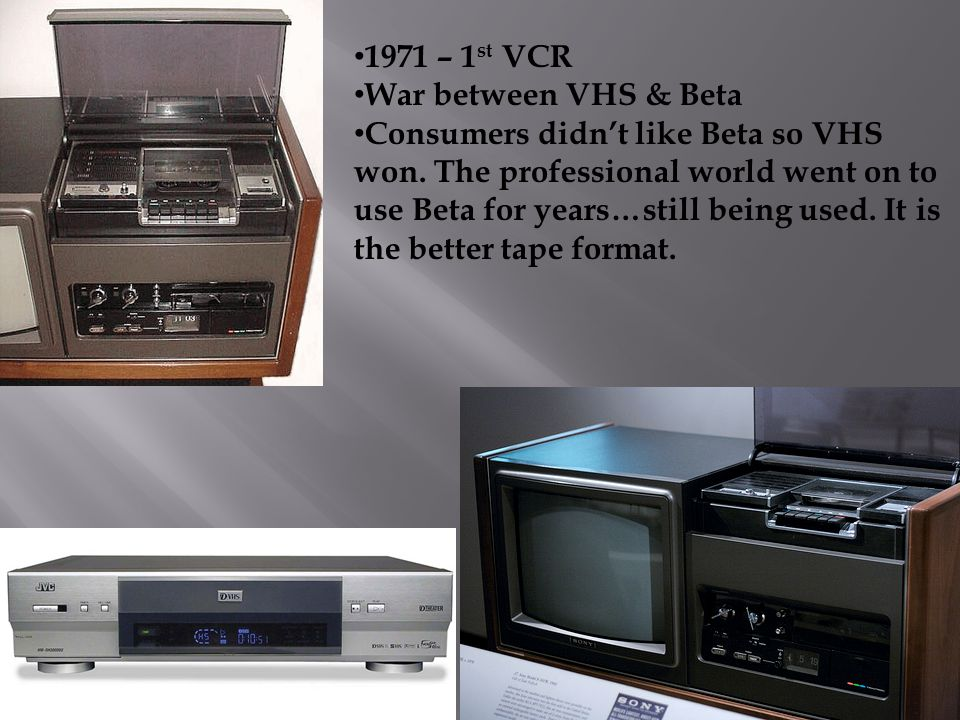1971 – 1st VCR War between VHS & Beta.