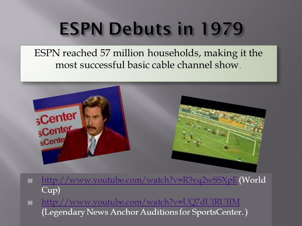 ESPN Debuts in 1979 ESPN reached 57 million households, making it the most successful basic cable channel show.
