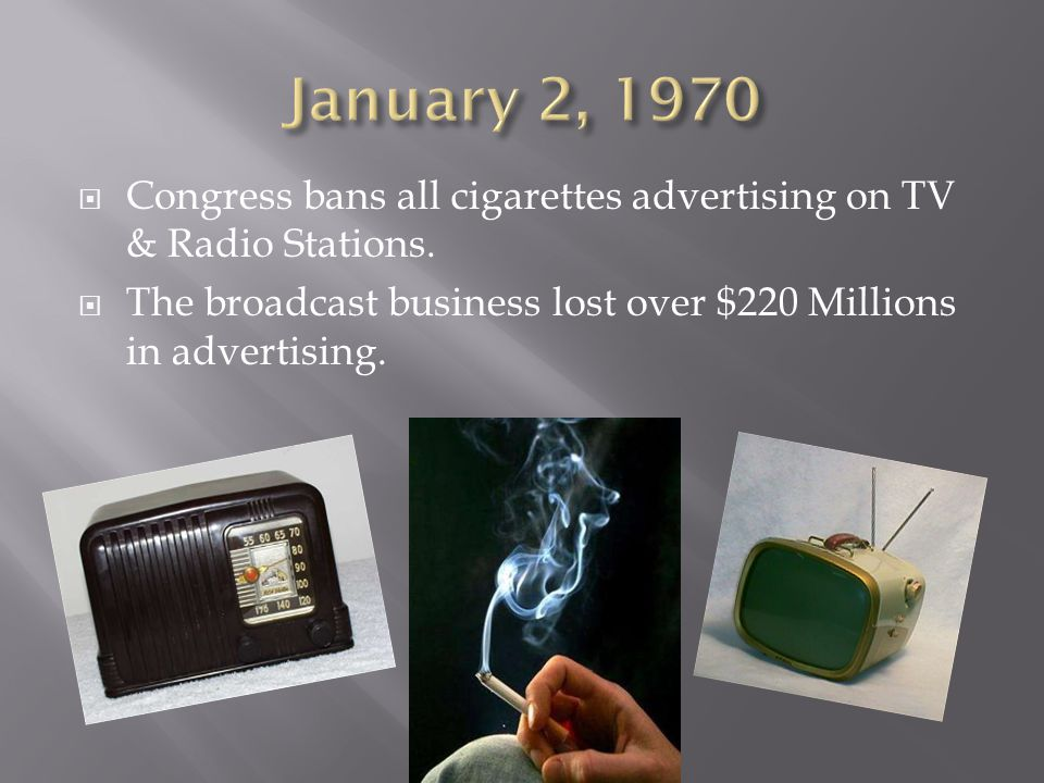 January 2, 1970 Congress bans all cigarettes advertising on TV & Radio Stations.