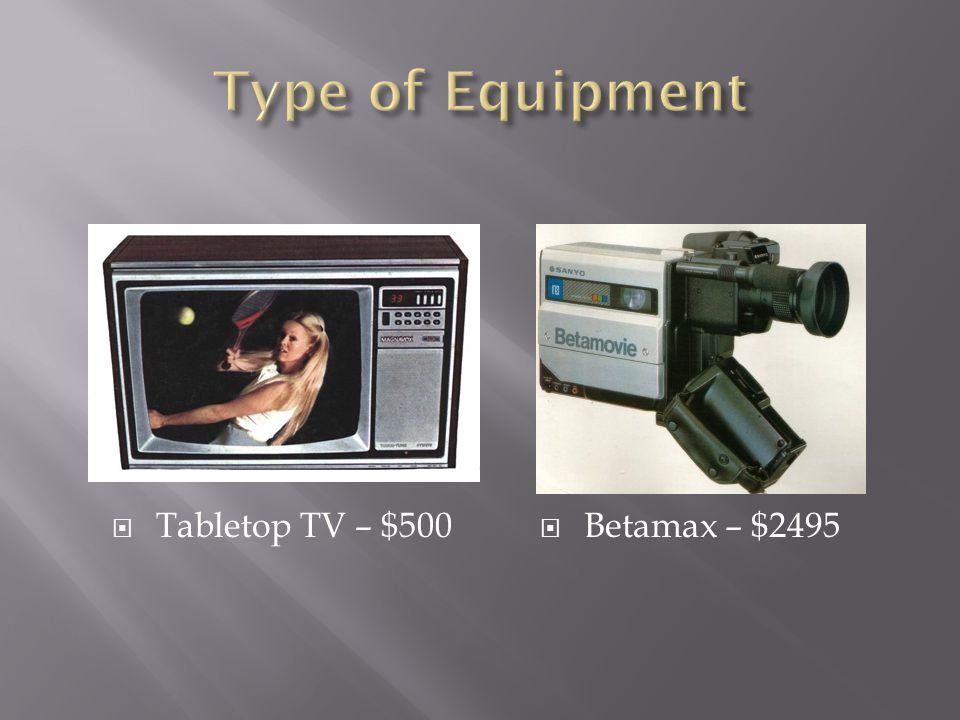 Type of Equipment Tabletop TV – $500 Betamax – $2495