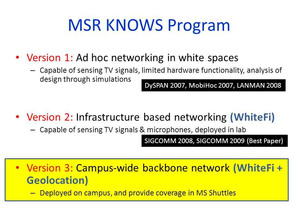 MSR KNOWS Program Version 1: Ad hoc networking in white spaces