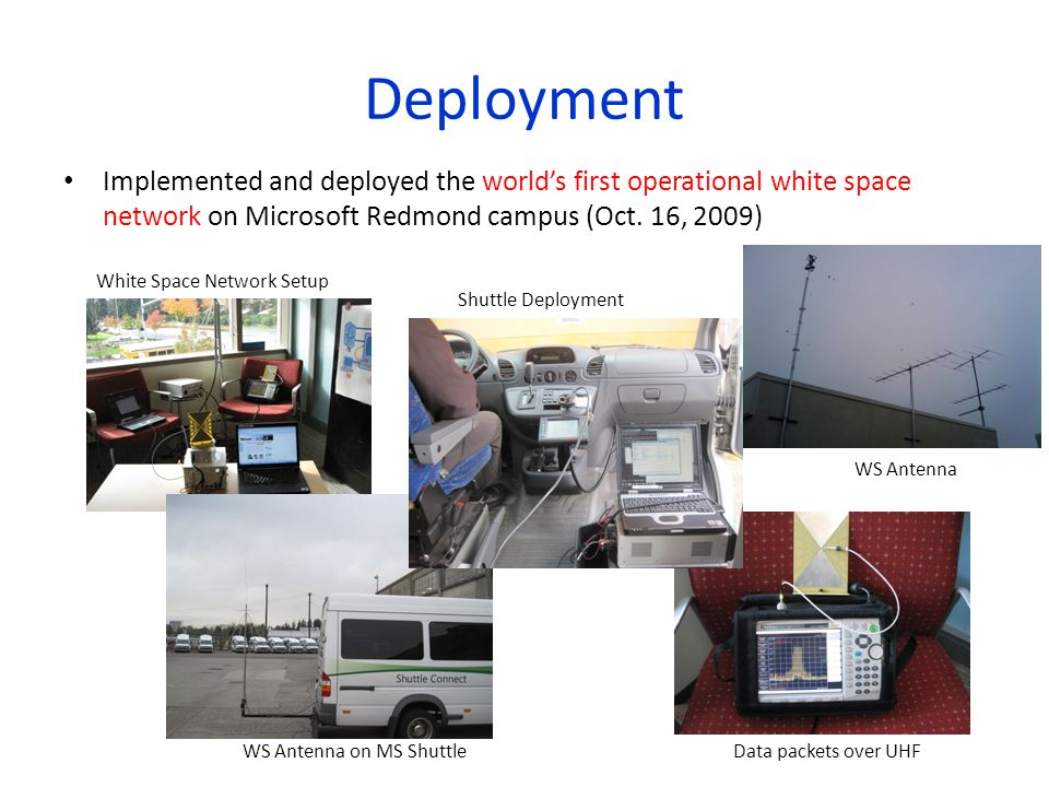 Deployment Implemented and deployed the world's first operational white space network on Microsoft Redmond campus (Oct. 16, 2009)