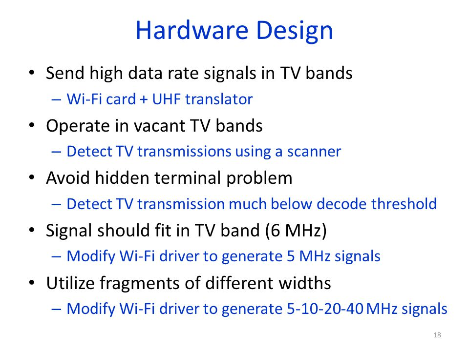 Hardware Design Send high data rate signals in TV bands