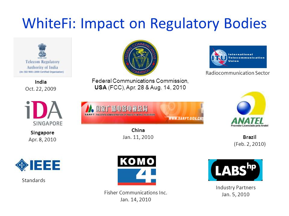 WhiteFi: Impact on Regulatory Bodies