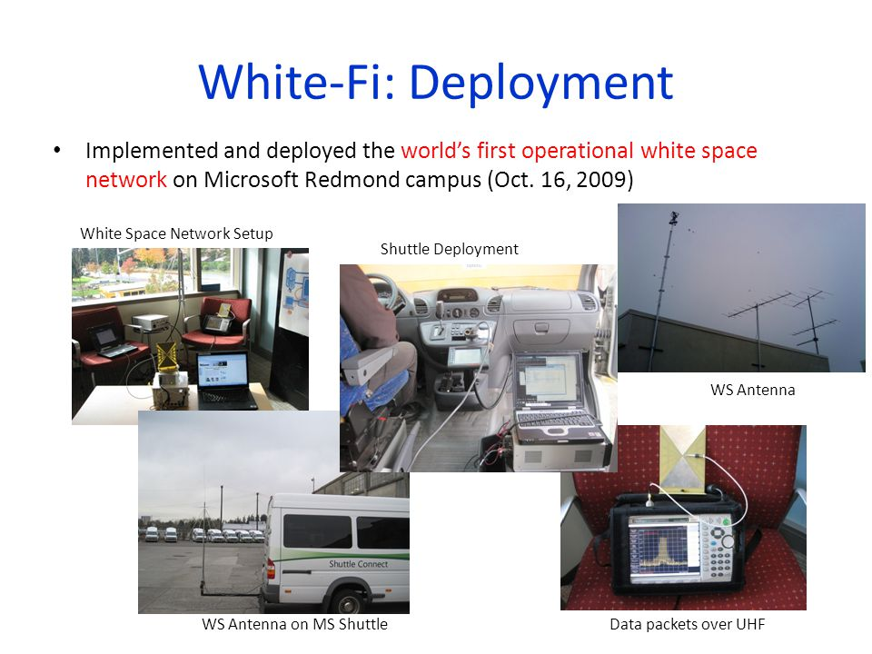 White-Fi: Deployment Implemented and deployed the world's first operational white space network on Microsoft Redmond campus (Oct. 16, 2009)
