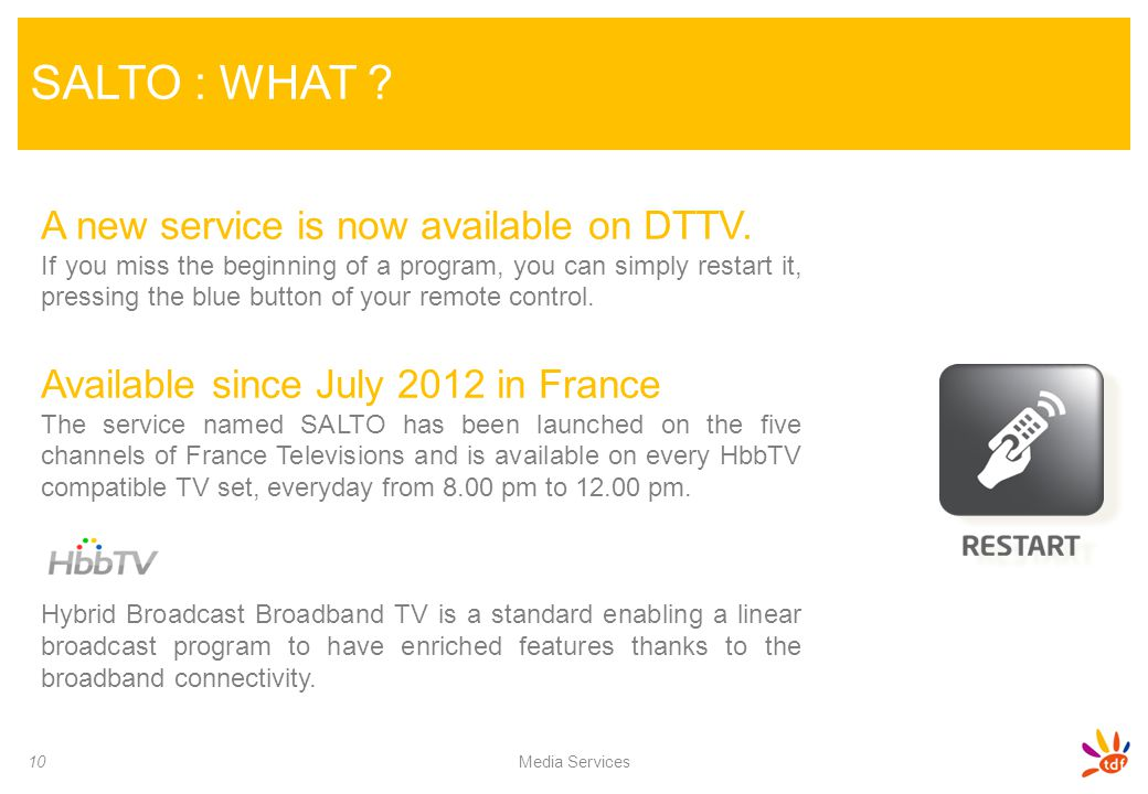 SALTO : WHAT A new service is now available on DTTV.