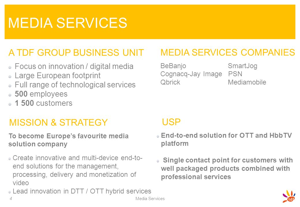 MEDIA SERVICES A TDF GROUP BUSINESS UNIT MEDIA SERVICES COMPANIES