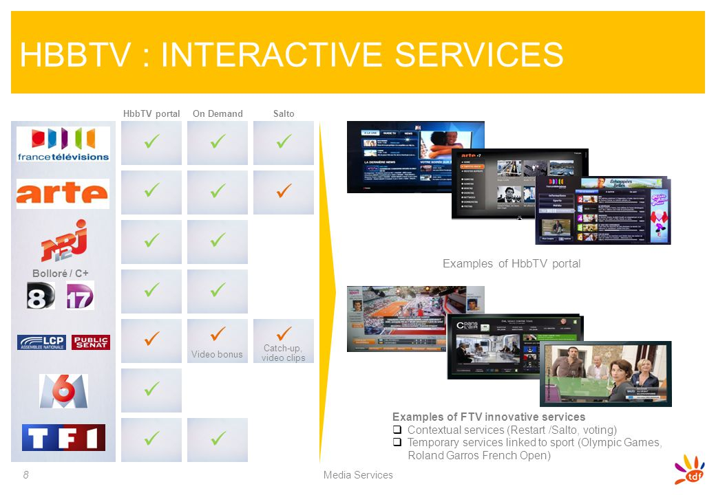 Examples of HbbTV portal