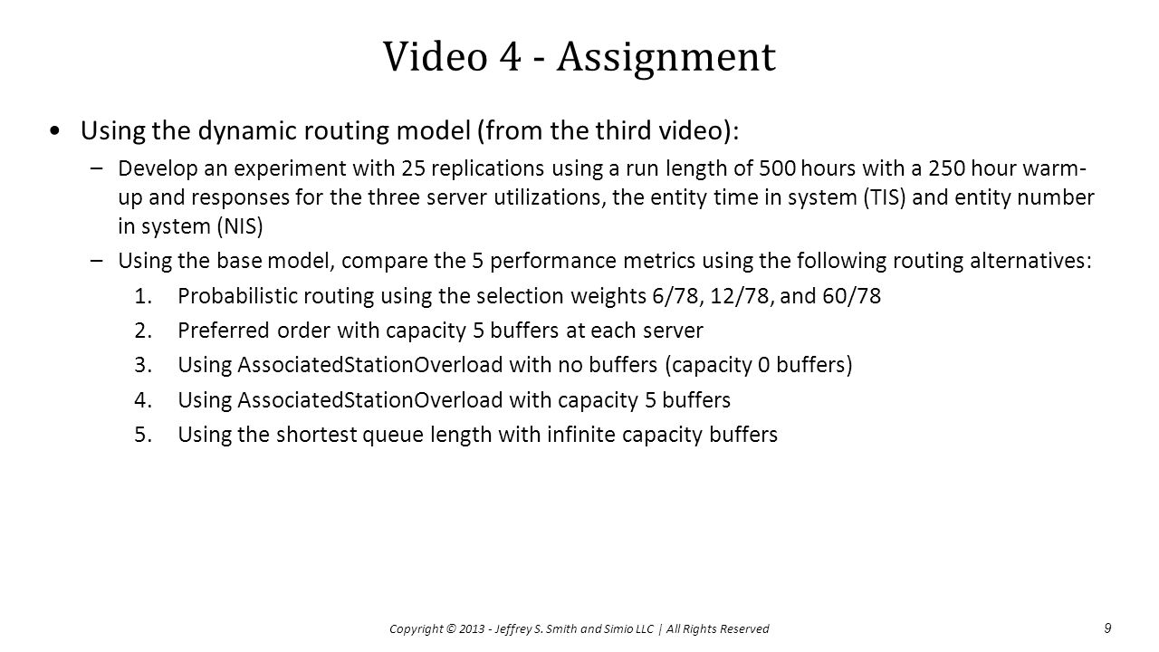 Video 4 - Assignment Using the dynamic routing model (from the third video):