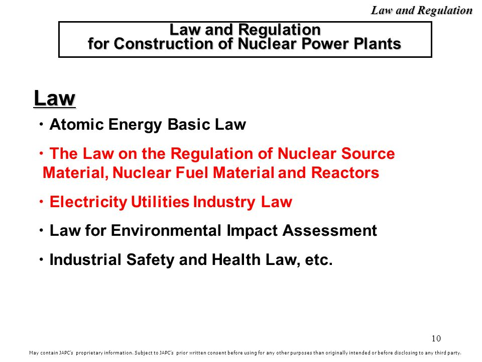 Law and Regulation for Construction of Nuclear Power Plants