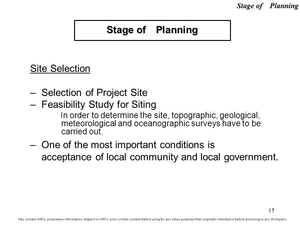 Selection of Project Site Feasibility Study for Siting