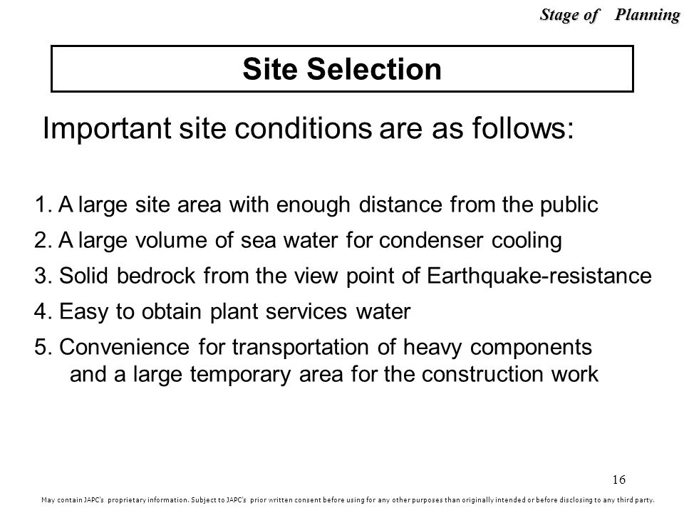 Important site conditions are as follows: