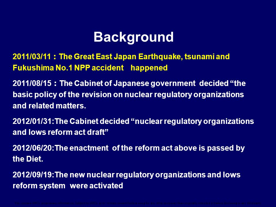 Background 2011/03/11:The Great East Japan Earthquake, tsunami and Fukushima No.1 NPP accident happened.