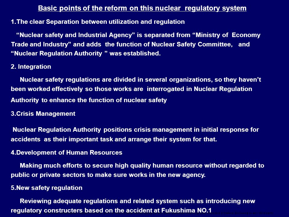 Basic points of the reform on this nuclear regulatory system