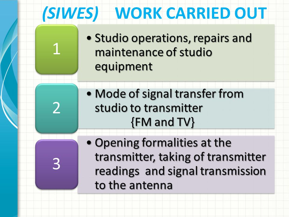 (SIWES) WORK CARRIED OUT