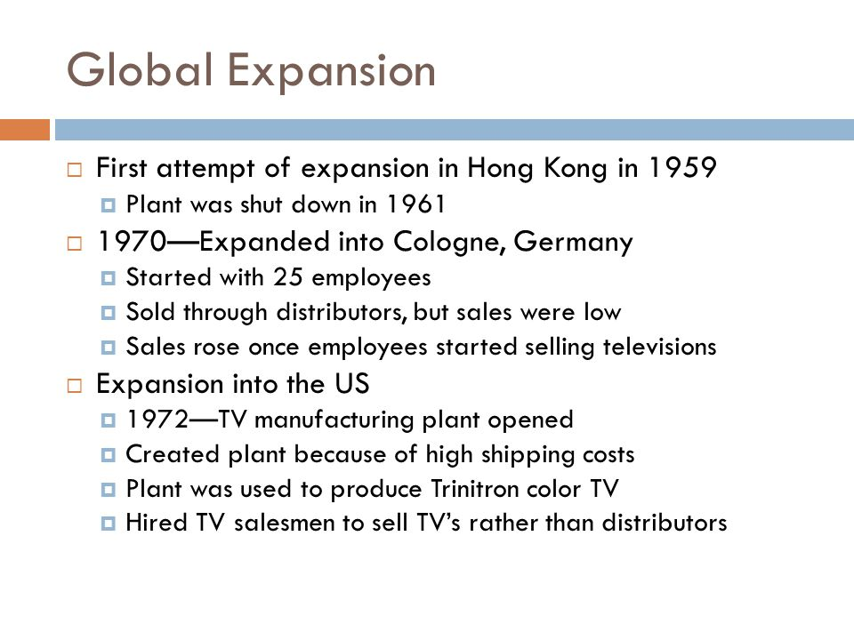 Global Expansion First attempt of expansion in Hong Kong in 1959