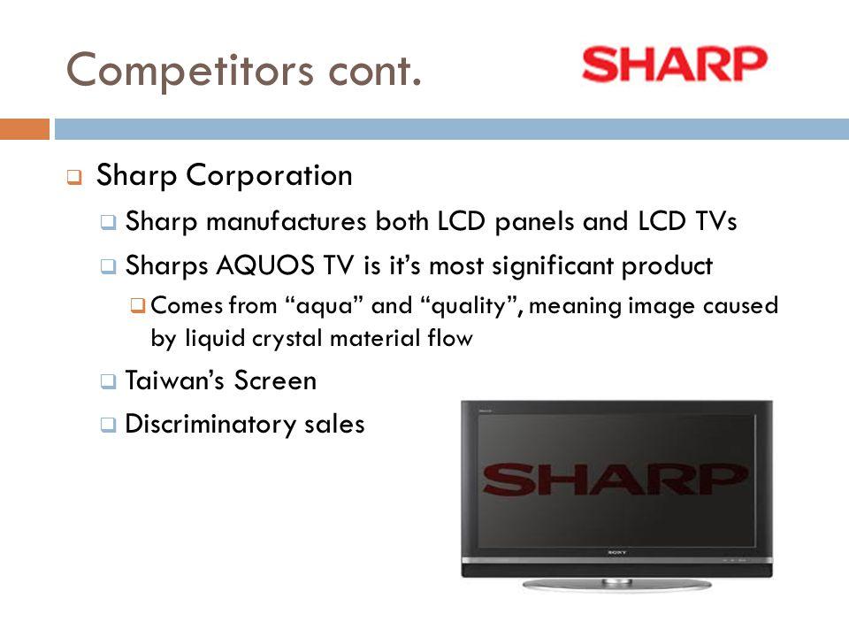 Competitors cont. Sharp Corporation