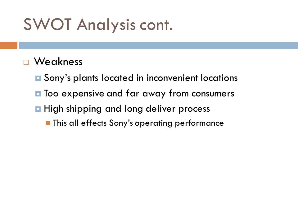 SWOT Analysis cont. Weakness