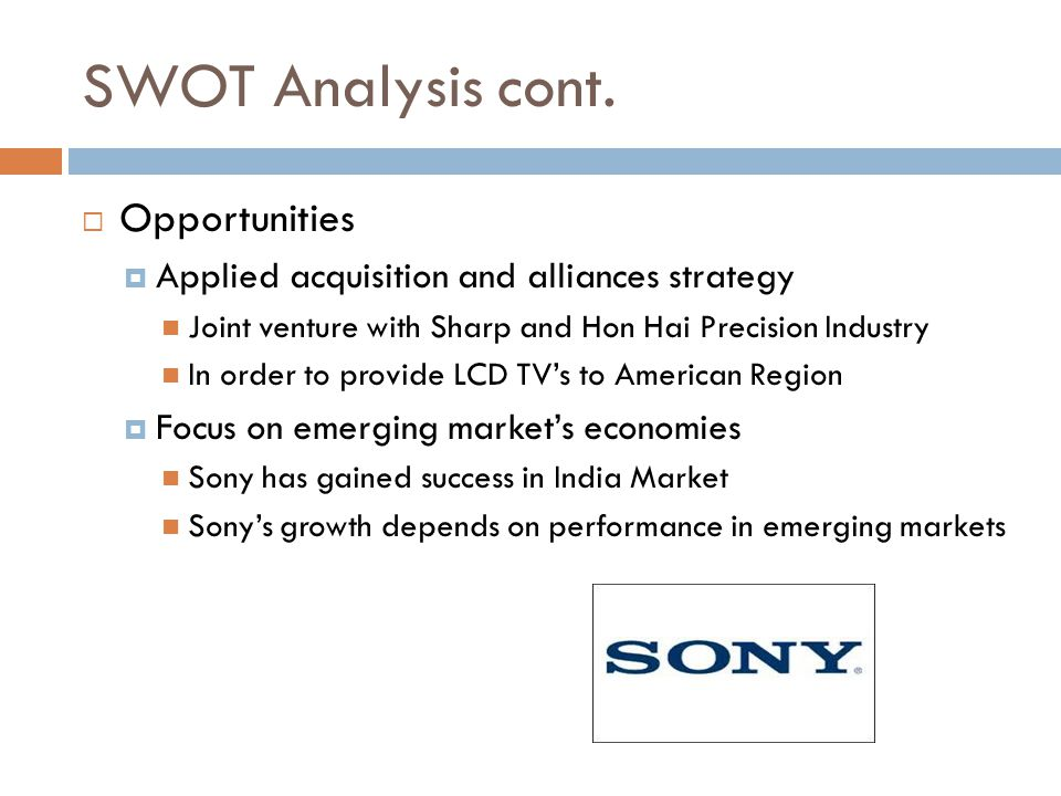 swot analysis of sony corporation Find free swot analysis for sony corporation of america and read swot analysis for over 40,000+ companies and industries detailed reports with strength, weaknesses, opportunities, threats for free.