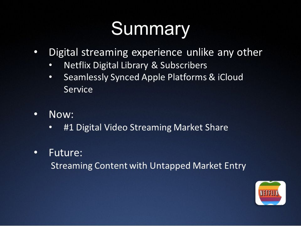 Summary Digital streaming experience unlike any other Now: Future:
